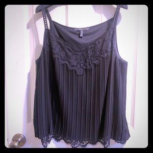 WHBM Black Mia Lace Pleated Camisole NWOT